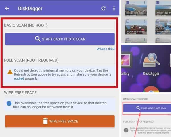 نرم افزار ریکاوری موبایل با گوشی بدون روت Disk Digger For Android